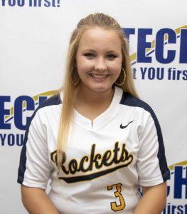 white girl with softball top