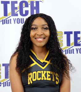 young black girl in cheer unifrom