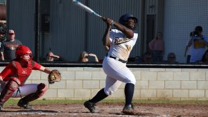 female softball player batting
