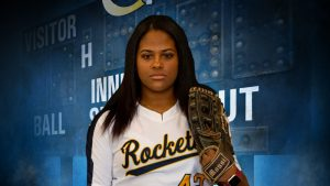softball player with glove