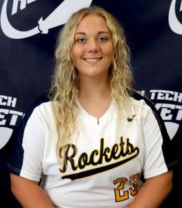 blond female softball player