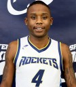 Young man wearing a white and blue basketball jersey