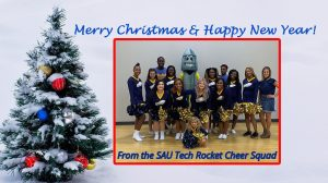 cheerleaders and Christmas tree